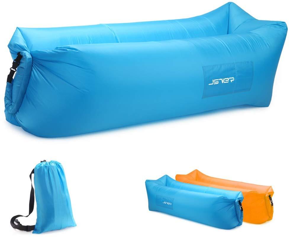 JSVER Sofa Gonflable d'air de Transat de avec Le Paquet Portatif pour Voyager, Camping, Randonnée, Piscine et Parties de Plage
